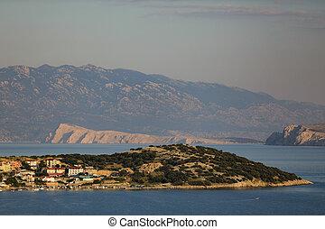 estate, sera, metallina, riva baia, adriatico, collina, mare, croatia., vista