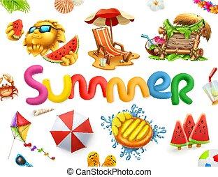 estate, set., 3d, vettore, vacanza, icona