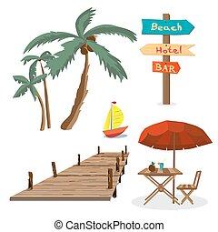 estate, set, banchina, legno, albero, yacht, holidays., palma, puntatore, tavola, objects., ombrello spiaggia