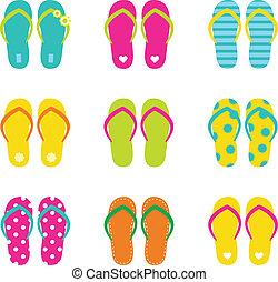 estate, set, buffetto, isolato, bianco, flops