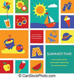 estate, set, colorito, icone