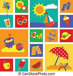 estate, set, colorito, icons., vacanze, felice