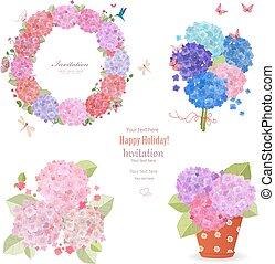estate, set, hydrangeas., ghirlanda, piantato, mazzolini, fiori