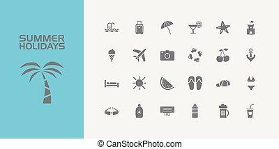 estate, set, icone, venti, vacanze, cinque