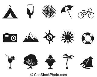 estate, set, nero, icone