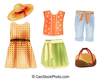 estate, set, ragazze, vestiti