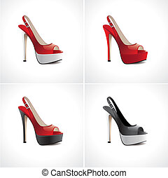 estate, set, scarpe, donne