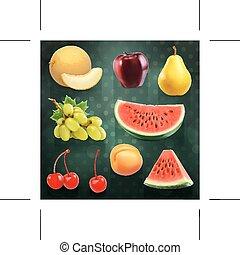 estate, set, scuro, frutte, vettore, fondo, illustrazioni