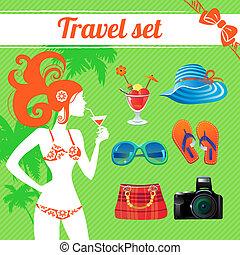 estate, set, viaggiare, moderno, infographics, icona, donne