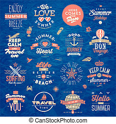 estate, set, viaggiare, -, vacanza, illustrazione, vettore, disegno, tipo