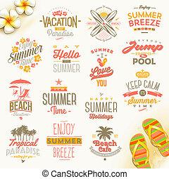 estate, set, viaggiare, vacanza, vacanze, vettore, disegno, tipo