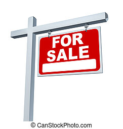 Estate Sign For Sale Sign - Real estate red for sale sign...