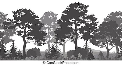 estate, silhouette, fondo, seamless, foresta