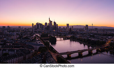 estate, silhouette, panorama, orizzonte, tramonto, francoforte