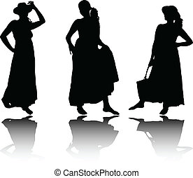 estate, silhouette, vestiti, donne