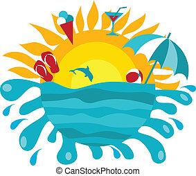 estate, sole, articoli, fondo, oceano