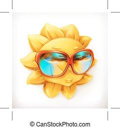 estate, sole, in, occhiali da sole