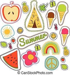 estate, sole, limone, pacifico, fragola, sorriso, wigwam, pezze, modello, pattern., seamless, ghiaccio, ricamo, farfalla, felice, colorito, arcobaleno, ananas, clower, crema, anguria, vettore