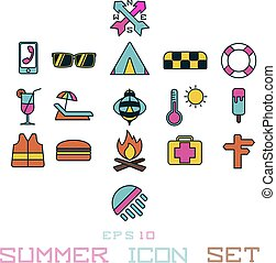 estate, sole, vacanza, anguria, icona, crema