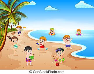 estate, soleggiato, bambini, grup, vista, spiaggia, gioco, giorno, nuoto