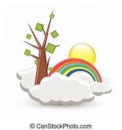estate, sopra, nubi, albero, arcobaleno
