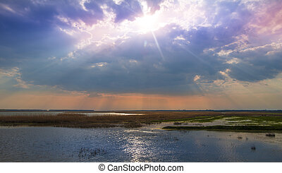 estate, sopra, tramonto, lago, tranquillo