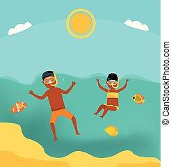 estate, sorella, illustration., famiglia, appartamento, vacation., tour., tuffo, fratello, americano, sea., mare, africano, cartone animato, family., nuoto