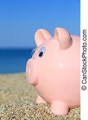 estate, spiaggia, banca piggy