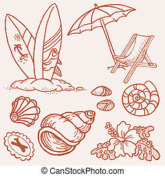estate, spiaggia, -, collezione, mano, vettore, disegnato, doodles