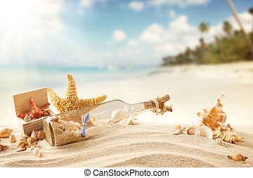 estate, spiaggia, con, strafish, e, sgusciare