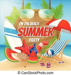 estate, spiaggia, disegno, festa, manifesto