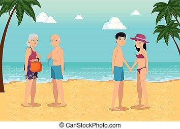estate, spiaggia, disegno, vacanza, persone