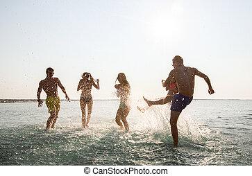 estate, spiaggia, divertimento, amici, detenere, felice