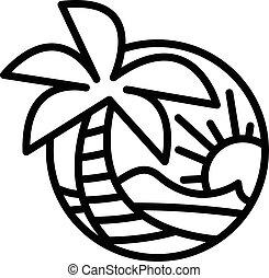 estate, spiaggia, onde, oceano, palma