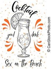 estate, spiaggia., poster., cocktail, alcoholc, vettore, fondo, festa