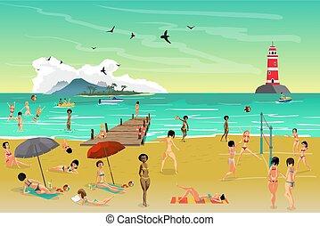 estate, spiaggia., prendere il sole, appartamento, sand., giovane, illustrazione, vettore, mare, cartone animato, paesaggio, donne