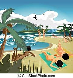 estate, spiaggia., prendere il sole, appartamento, sand., nudo, giovane, illustrazione, paesaggio, vettore, privato, mare, cartone animato, dire bugie, donne