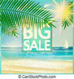 estate, spiaggia., vendita, disegno, sagoma, finale
