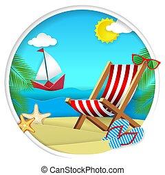 estate, spiaggia, vettore, carta, taglio, illustrazione