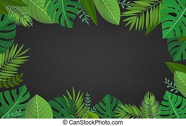 estate, stagione, foglie, tropicale, verde, composizione