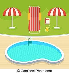 estate, stagno, nuoto