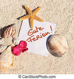 estate,  starfish, sgusciare, sabbia, carta, vuoto, spiaggia