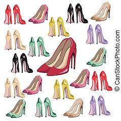 estate, stile, set, scarpe, modello, colorito, vettore, pompe, sexy, signora