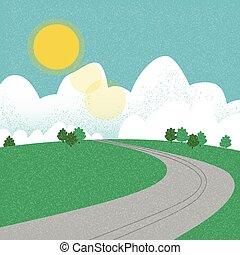 estate, strada, durante, montagna