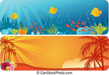 estate, subacqueo, albero, palma, fondo, bandiere