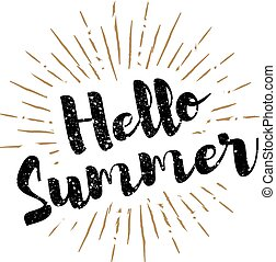estate, sunbursts, iscrizione, vettore, fondo, ciao