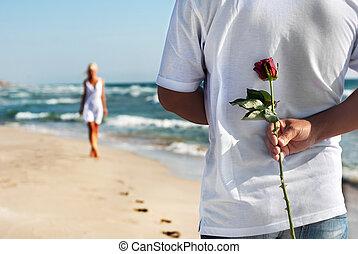 estate, suo, concetto, romantico, rosa, -, attesa, donna, mare, data, spiaggia, uomo