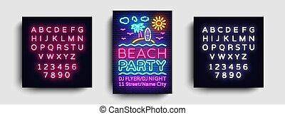 estate, tendenza, testo, moderno, segno neon, luminoso, disegno, template., festa, stile, bandiera, disegno, vector., festa, spiaggia, manifesto, typography., redazione, scheda, luce, pubblicità, invito