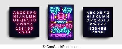 estate, tendenza, testo, moderno, segno neon, luminoso, disegno, template., festa, stile, bandiera, disegno, vector., festa, manifesto, typography., redazione, scheda, luce, pubblicità, invito