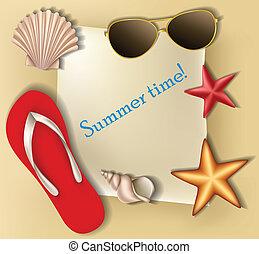 estate, testo, cornice, con, sgusciare
